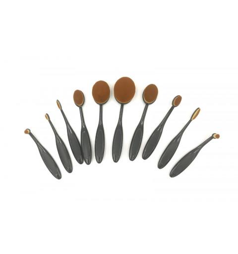 Sminkborstar/Make Up borstar 10-p oval brush i svarta set läppborste till foundationborste