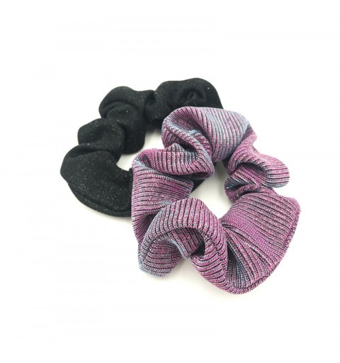 Skimrande scrunchies tygsnoddar svart och lila scruchie set
