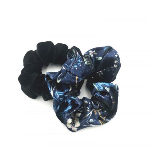Blommig scrunchie i sammet scrunchie set svart och blommig mönster blå