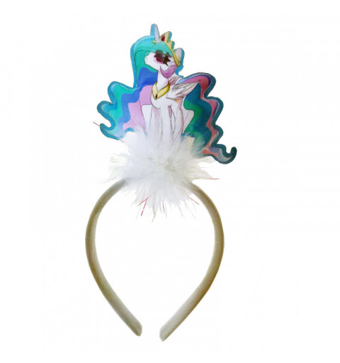 Unicorn diadem med blinkade enhörning med vitt fluff