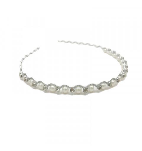 Silverfärgat diadem med pärlor och strass