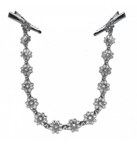 Hårsmycke i metall med blommor  hårband diadem hårmode silver hår kedja