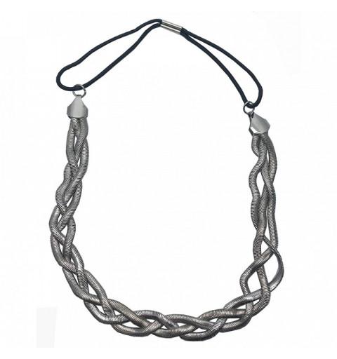Flätat hårband i metallisk design diadem hårsmycke hårmode midsommar studenten bröllop silver hår kedja