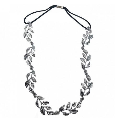Hårband med metalliska löv silver hårsmycke hår kedja midsommar studenten bröllop diadem