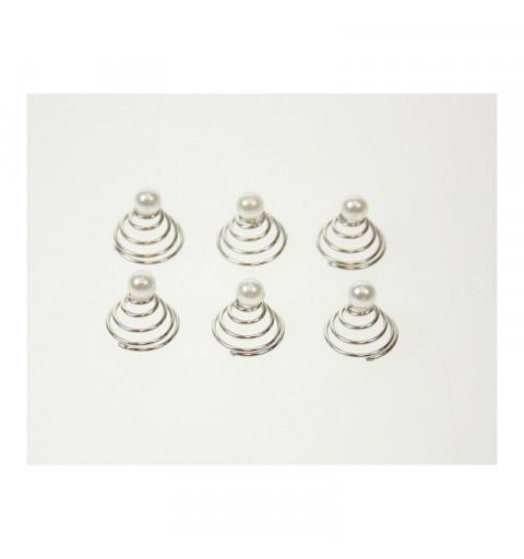 Hårdekoration med pärlor silver 6-p
