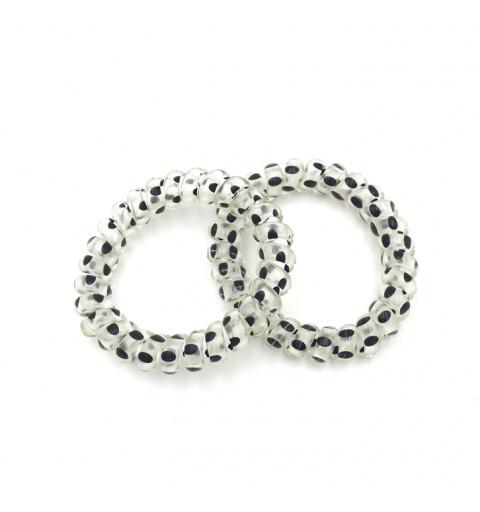 Spiralsnoddar prickiga svarta 2- transparent snoddar med svarta prickar telesnoddar