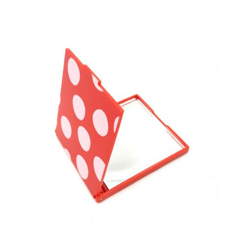Vikbar väskspegel med vita prickar röd bakgrund
