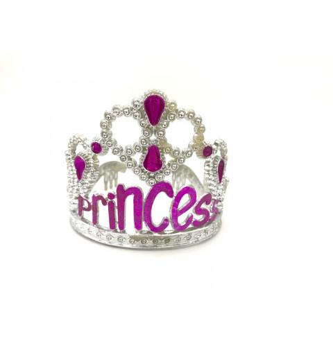 Tiara prinsessa med rosa strass och text i silver