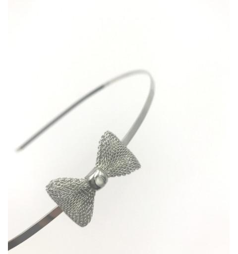 Diadem i silver med rosett metall