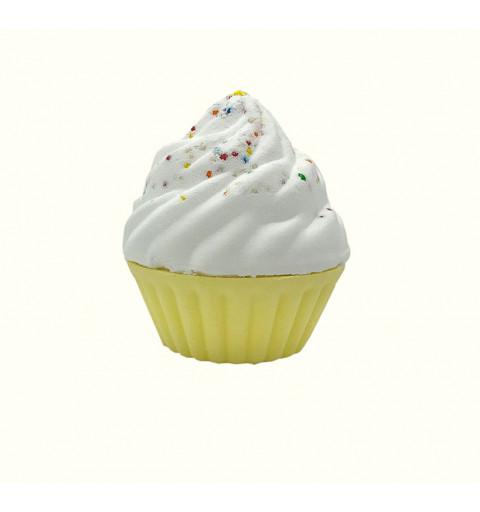Badbomb i forma av en Cupcake med vit topping