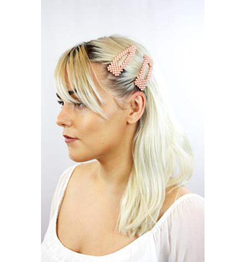 Hårspännen med rosa pärlor stora hårspännen