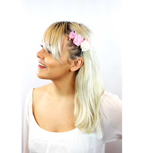 Hårclips set med blommor i vita och rosa silver clips hårklämma hårspänne barn midsommar bröllop