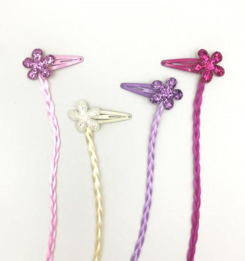 BARN HÅRSPÄNNEN MED FLÄTOR Blommorna har dekorativa paljetter barn hårmode hår accessoarer glitter