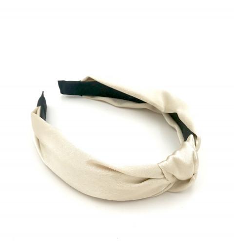 Diadem med knut i satin  satin-tyg med en dekorativ knut sommar diadem pastell beige