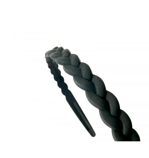 Flätat diadem i matt svart plast