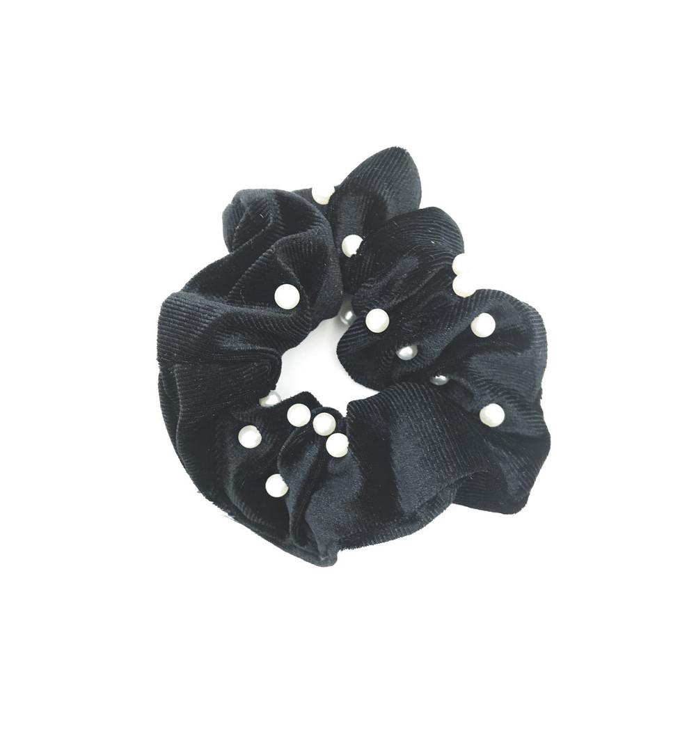 Sammetsscrunchie med pärlor tygsnodd svart pearl