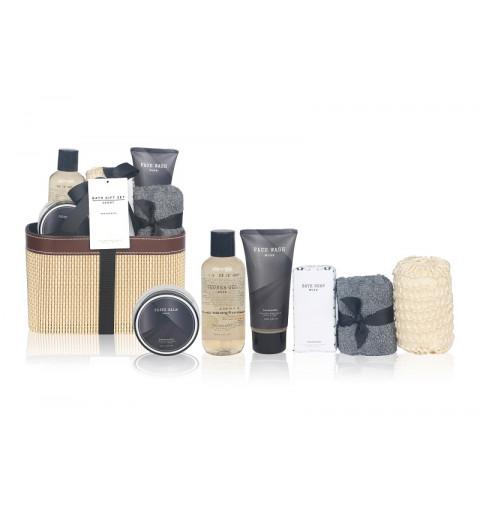 Spa kit för man med ansiktstvätt, handduk svamp,skägg balm och duscholja