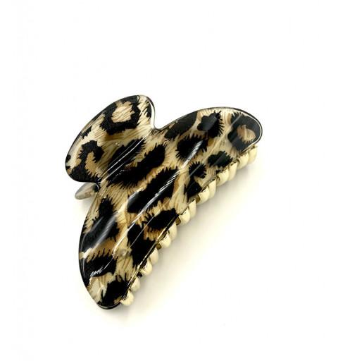 Hårklämma i guldfärg med leopard mönster.