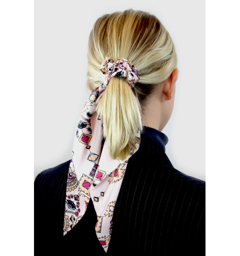 Scrunchie med scarf tryck rosa