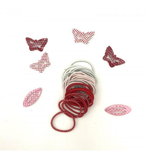 Barn hårspänne i form av fjäril i röd och rosa. Hårsnoddar i vita, röda, rosa, vita och rosa med silver glitter.