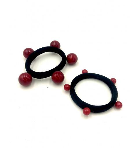 Hårsnoddar med pärlor svart snoddar med röda pårlor