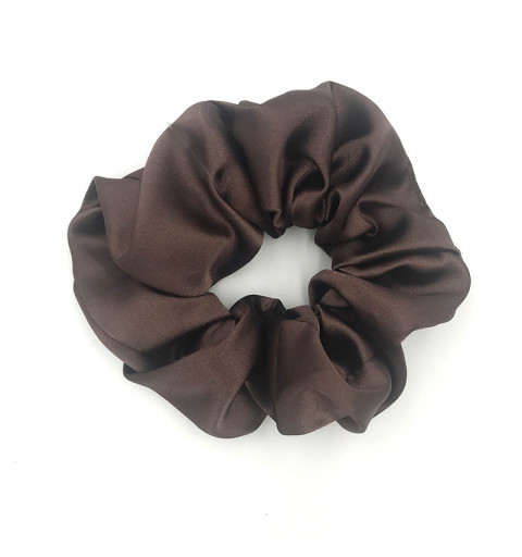 Scrunchie satin brun