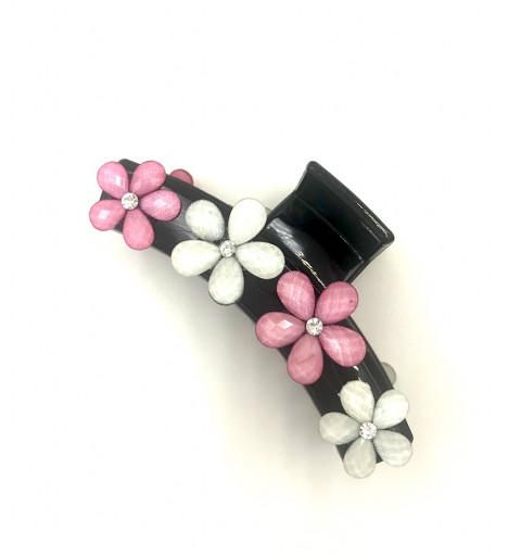 Svart klämma med blommor i stenar och strass rosa