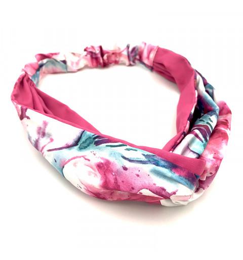 Hårband med blommig mönster och knut  ljusrosa