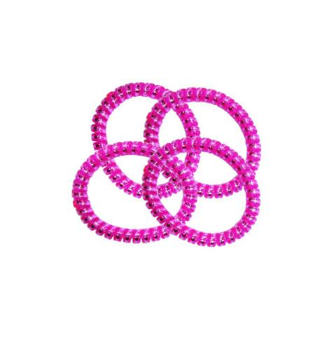 Spiralsnodd 4-pack Rosa Telesnoddar tunna i pastella färger hair bobble hästsvans barn