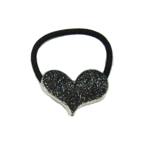 Snodd med glittrig hjärta platta  svart jul nyår fest party svart hårsnodd med dekorativ platta