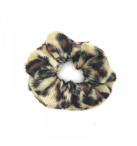 Scrunchie i leopardmönster brun tygsnodd