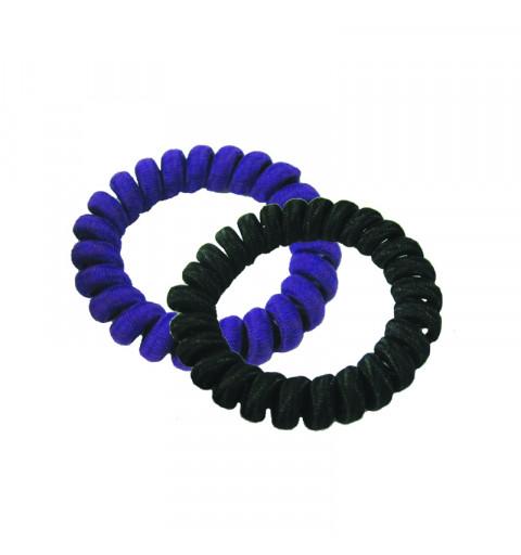 Spiralsnoddar Tyg Svart/Blå 2-pack Telesnoddar i tyg  hair bobbles elastiska