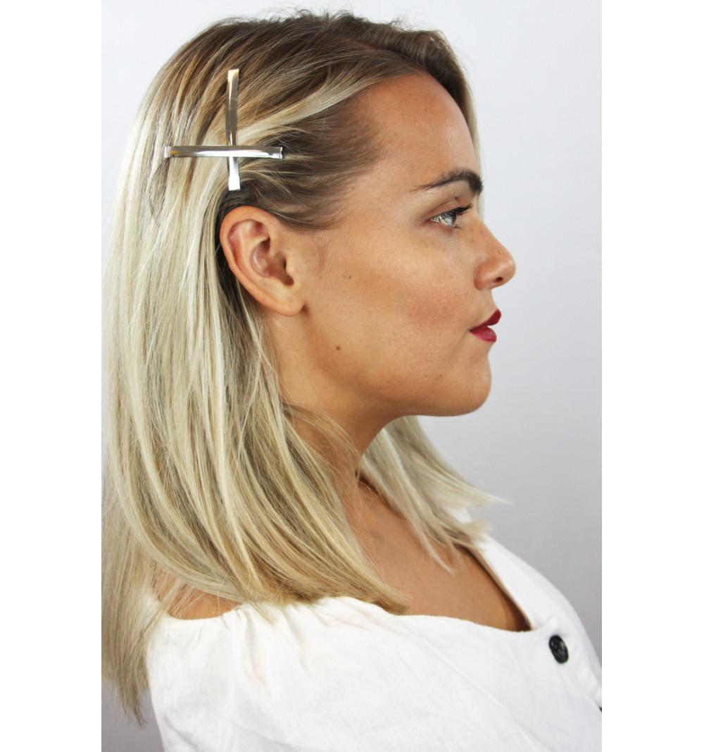 Små hårklämmor hårspännen i metall silver