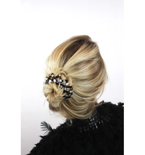 Dekoration donut hårmunk hår styling  strass stenar silver svarta