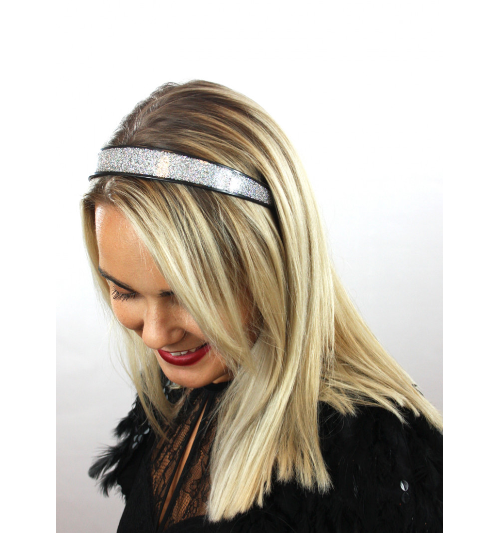 silverfärgat glittrigt diadem hårband glitter festlig party bred  plast svart