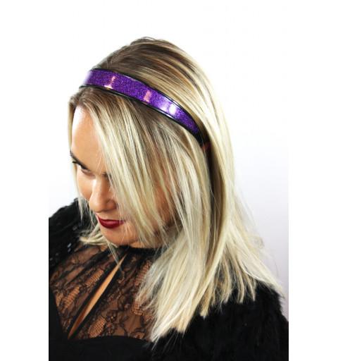 lilafärgat glittrigt diadem hårband glitter festlig party bred  plast svart