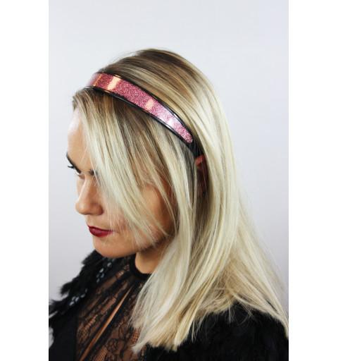 rosafärgat glittrigt diadem hårband glitter festlig party bred  plast svart