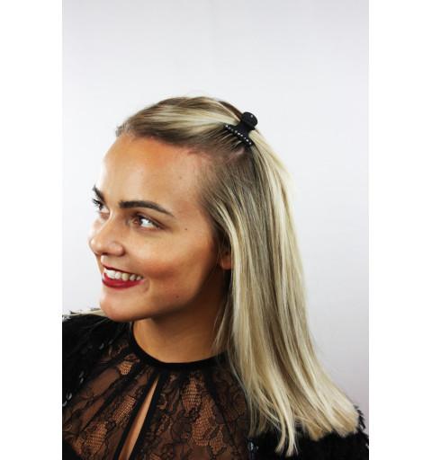 Svart hårklämma med strass 1-p