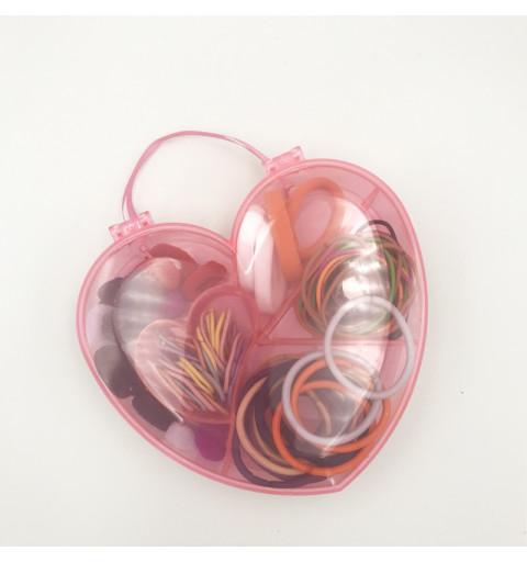 Hårsnoddar i ett Hjärta 100-pack Hårsnoddar i hjärtformad plastlåda barn present snodder julklapp